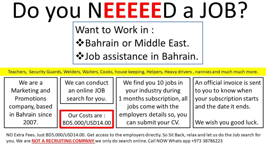 JOB search in GCC and Bahrain